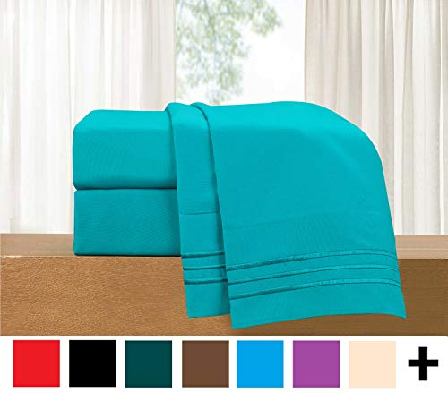 Elegant Comfort Luxury 4-Piece Bed Sheet Set - Luxury Bedding 1500 Thread Count Egyptian Quality - Wrinkle and Fade Resistant Hypoallergenic Cool & Breathable, Easy Elastic Fitted (Sheet Teal)