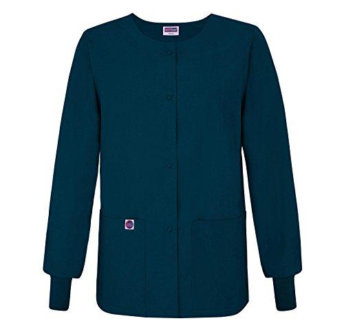Sivvan Women's Scrub Warm-Up Jacket/Front Snaps - Round Neck - S8306 - Caribbean Blue - S