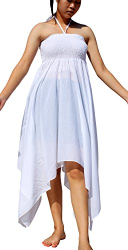 RaanPahMuang Ragged Wide Cut Forest Pixie Halter Long Dress, Medium, White (Pixie Cut Dresses)