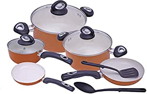 T-10 Ceramic Cooking set,10 pcs - Orange by BEEFIT DINING AND COOKWARE