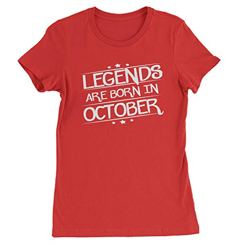 Legends Are Born Womens in October T-Shirt X-Large Red