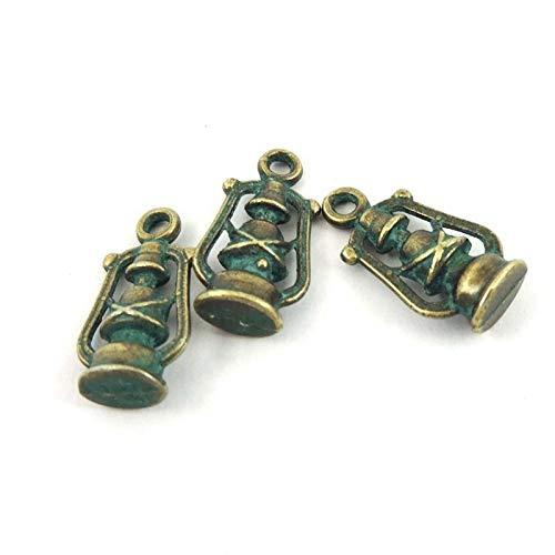 40PCS Antiqued Bronze Vintage Tone Alloy Oil Lamp Pendant Charms 39211 ()