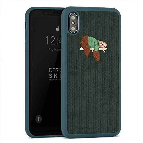 Phone Case Embroidered (DesignSkin iPhone Xs MAX Corduroy Embroidered Cloth Covered Case: Thin Fit, Lightweight, Non-Slip Grip Fashion w Character Cover for Apple iPhoneXS MAX - Green/Sloth)