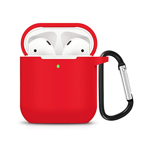 ZALU Compatible for AirPods Case with Keychain, Shockproof Protective Premium Silicone Cover Skin for AirPods Charging Case 2 & 1 (AirPods 2, Red) ()