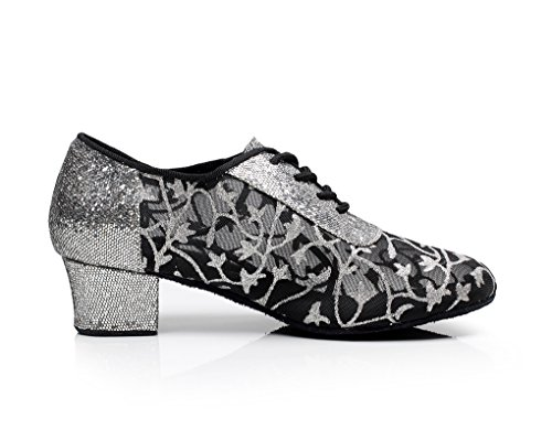 Minitoo QJ7035 de encaje para mujer tacón de agua con conector ovillo de Latin con tacón bajo flores de zapatillas de con mariposas de Gris - gris
