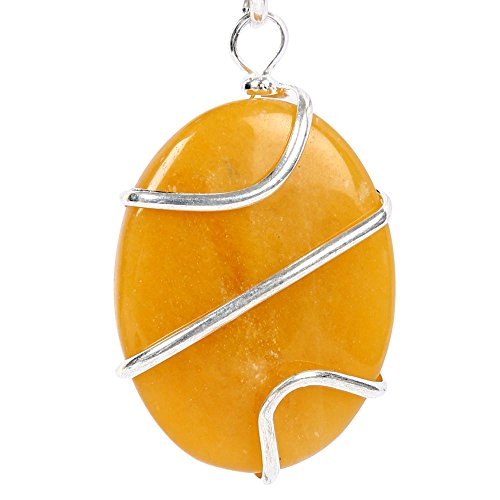 Satyamani Satyamani Golden Calcite Wire Wrapped Cabechone Energy Pendant Crystal Pendant