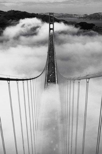 Misty morning golden gate bridge art poster print 24x36 travel poster print