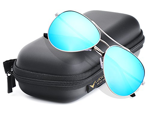 LUENX Aviator Sunglasses Polarized for Men & Women with Case - 400 UV Ice Light Blue Lens Metal Gloss Silver Frame Mirrored - Blue Light Polarized