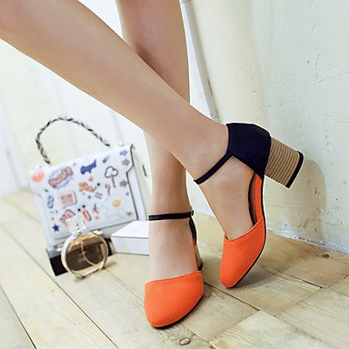 LvYuan Mujer-Tacón Robusto-Otro D'Orsay y Dos Piezas-Sandalias-Vestido Informal-Semicuero-Rosa Gris Naranja Orange