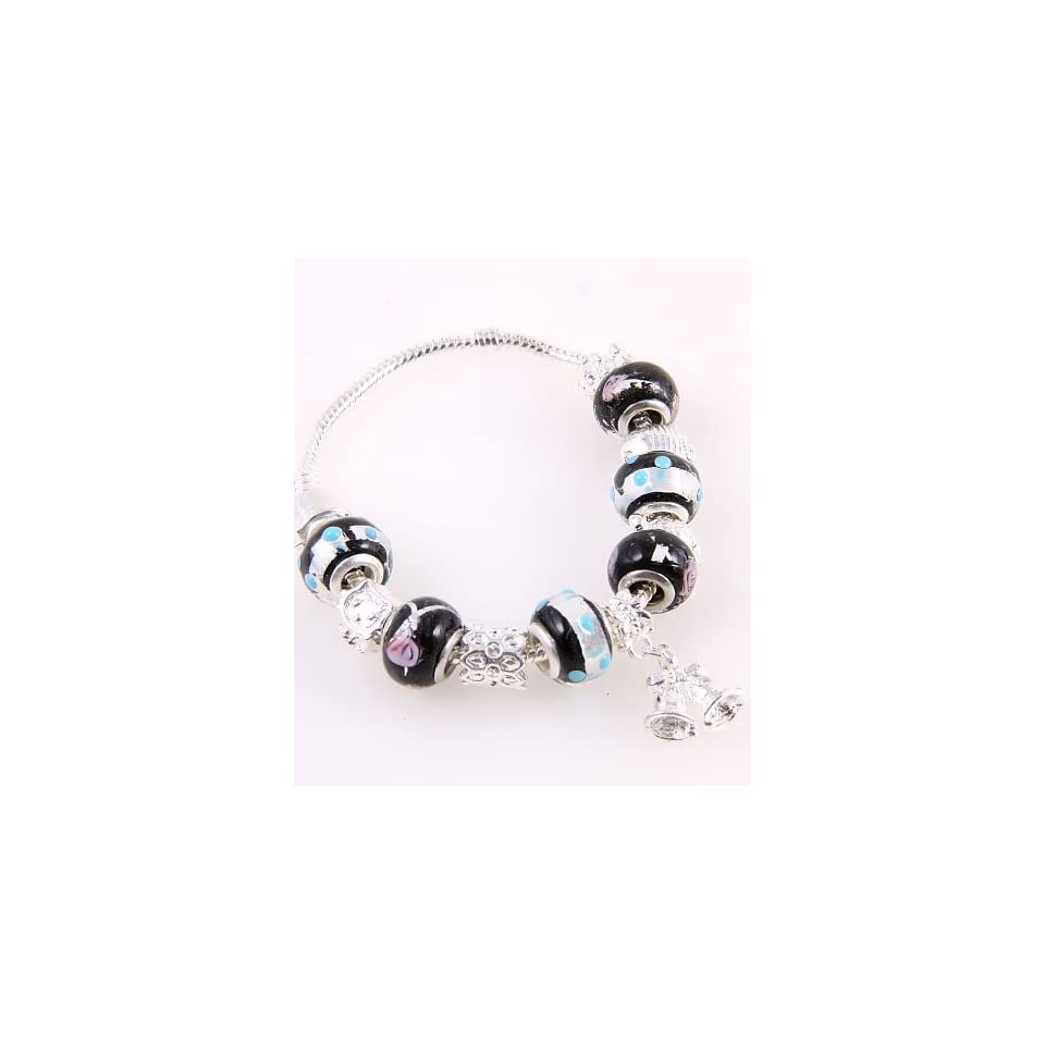Fashion Jewelry Desinger Murano Glass Bead Bracelet with Pattern Black Mixed