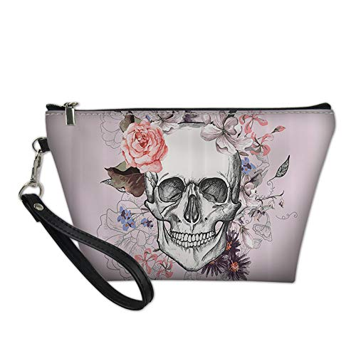 Mumeson Pink Women Toiletry Bags with Hanging Rope 3D Suger Skull Print Gift for Girls]()