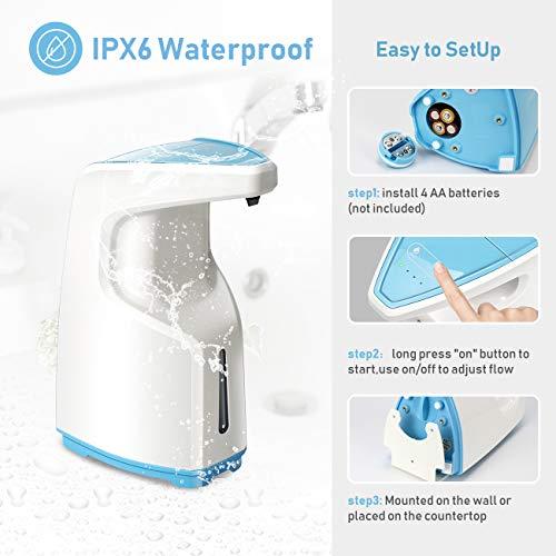 Automatic Soap Dispenser, Hand Sanitizer Dispenser, Touchless Soap Dispenser 15.2 oz /450ml Capacity, Battery Powered, Adjustable Volume Pump with Infrared Sensor, for Bathroom Kitchen (blue)