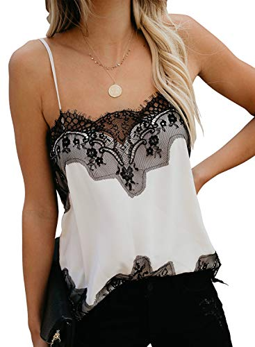 Tank Tops Sleeveless Cami Shirts for Women Summer Fashion Lace Cute V Neck Blouses Casual Loose Camisole Plus White XL