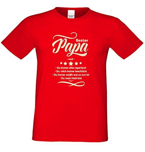 T-Shirt als Geschenk für den Vater - Bester Papa - Bist mein Held - Ein Danke für alle Papas mit Humor zum Vatertag oder einfach so, Größe M Farbe 03-Rot