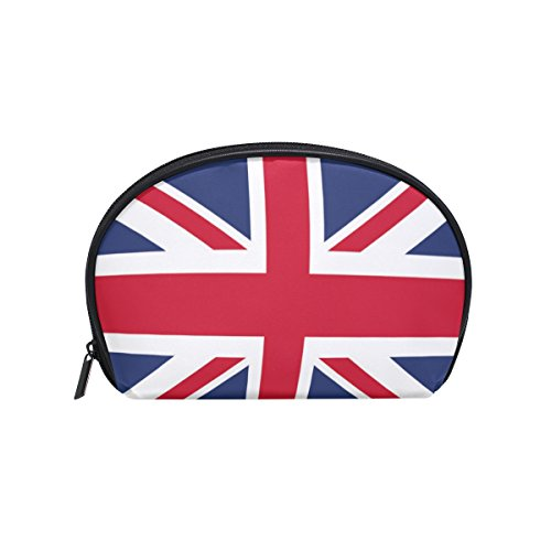 ALAZA British Flag Half Moon Cosmetic Makeup Toiletry Bag Po