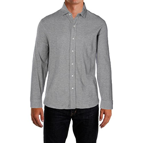 Polo Ralph Lauren Men's Jacquard Long Sleeve Button-Down Shirt, Andover Heather, XL