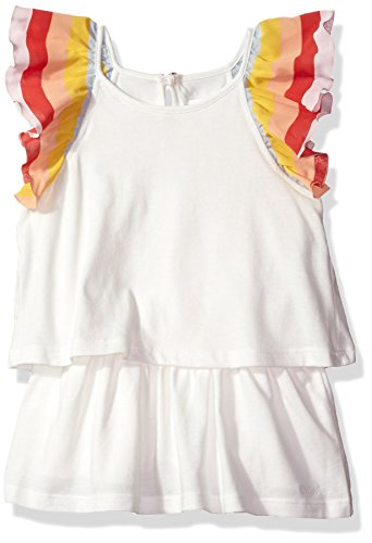Chloe Girls' Rainbow Ruffles Dress Little Kid, Off White, 2Y by Chloe