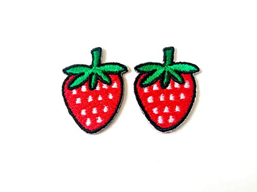 Tyga_Thai Brand Set 2 pcs. Mini Red Strawberry Cute Fruit Jacket T-Shirt Sew Iron on Embroidered Applique Badge Sign Patch (Iron-Red-Strawberry-Fruit)