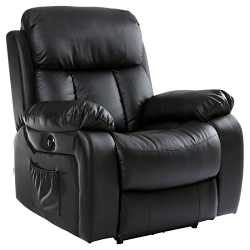 More4Homes (tm) CHESTER ELECTRIC HEATED MASSAGE RECLINER BONDED LEATHER CHAIR SOFA GAMING HOME ARMCHAIR (Black)