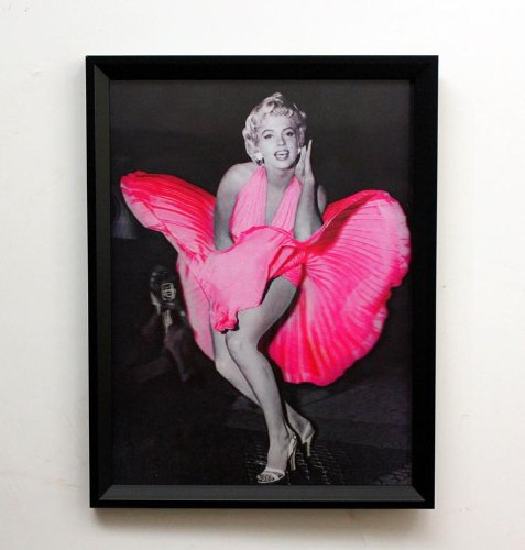 Framed Hd 3d Iconic Print 3 Dimensional Picture of Marilyn Monroe in Pink Dress Sized 40 X 30 Cm (15.75 X 11.8 Inches)