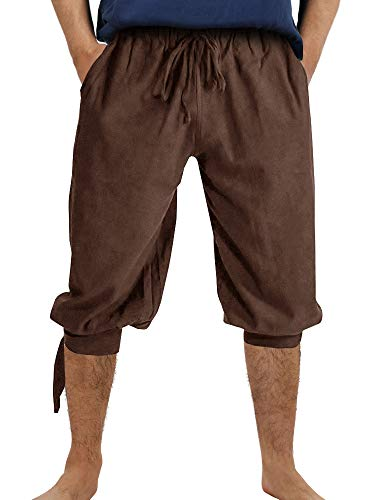 Makkrom Mens Ankle Banded Pants Medieval Pirate Costume Trousers Viking Renaissance Mercenary Gothic Cosplay Short Pants