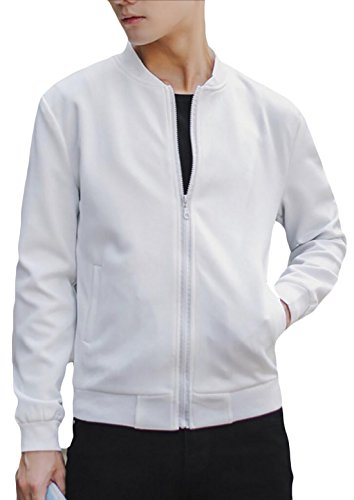 Bomber Fall Slim Jacket Mens Generic Solid Embroidery Fit White Classic Color q8xp5P