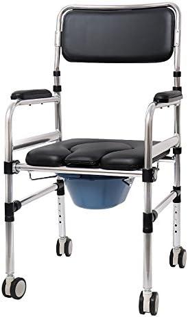 Cqq Badestuhl Multifunktions-Alter Mann-Stuhl- / Bad-Stuhl- / sitzender Schemel- / Rollstuhl-Aluminiumlegierungs-Flaschenzug-faltender Toiletten-Schwangere Frauen-Toiletten-Stuhl