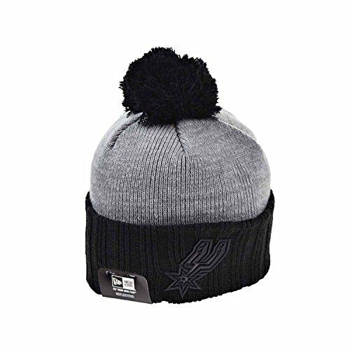 New Era San Antonio Spurs Flected Frost Men's Knit Pom Beanie Hat Cap Black/Grey 80504547 (Size - San Outlets Antonio