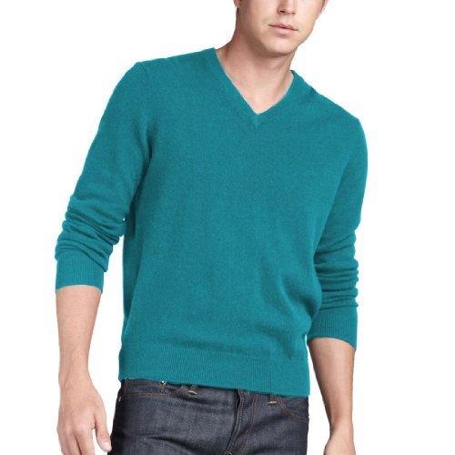 Parisbonbon Men's 100% Cashmere V-Neck Sweater Color Sky Blue Size ()