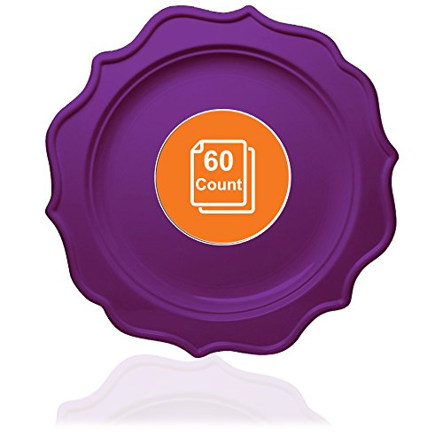 Purple Scalloped - Tiger Chef 60-Count, 10-inch Purple Color, Scalloped Rim Disposable Plastic Round Big Party Plate Set, includes 60 Dinner Plates, Plastic - BPA-Free, for Baby Showers, Wedding, Birthday