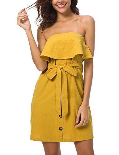 Roaays M Off Shoulder Belted Button up Summer Mini Dress Medium Yellow