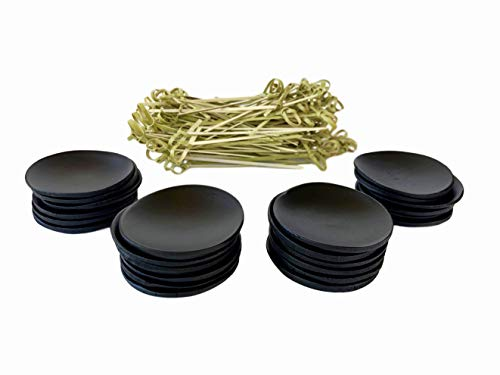 24 Mini Disposable Bamboo Appetizer Plates plus 100 Bamboo Fancy Toothpicks. Biodegradable Appetizer Plates and Bamboo Toothpicks Set for Dinner Parties, Breakfast Bar, Food Tastings, Finger Food.]()