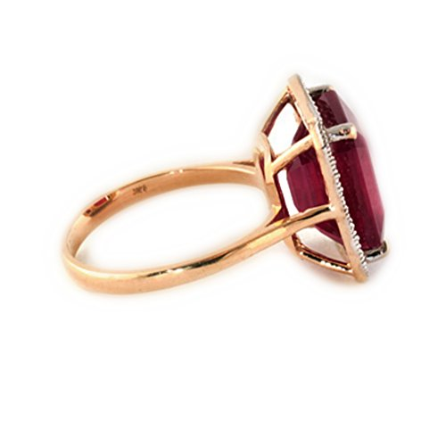 7.45 Carat 14K Solid White Rose Yellow Gold Emerald Cut Ruby Halo Design with Natural Diamond Ring 4894 (Rose-Gold, 9.5) by Galaxy Gold (Image #2)