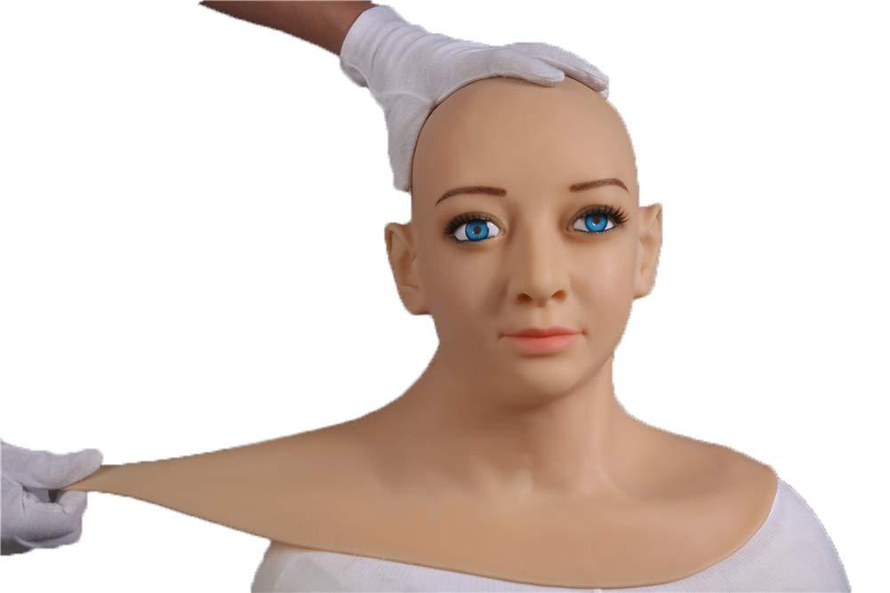BTTBS-MJ Silicone Realistic Lady Head Mask Handmade Face for Crossdresser Transgender Cosplay Halloween Masquerade COS Transvestite