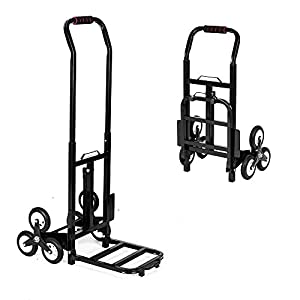 "ROVSUN 330LBS Capacity Stair Climbing Cart, 30"" Heavy Duty Hand Truck, Portable Folding Trolley for Upstairs Cargo Transportation, Rubber Three-Wheels & Thickened Tube & Anti-Scratching Mat"