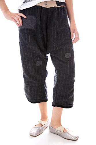 Magnolia Pearl Pinstriped Wool Oliana Pants with Cotton Flannel L