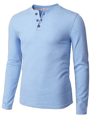 H2H Mens Casual Henley Long Sleeve Waffle Cotton T-Shirts HEATHERSKY US XL/Asia 2XL - Striped Shirt Long Henley Sleeve