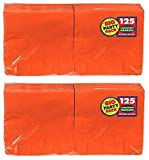 Amscan Big Party Pack 250 Count Luncheon Napkins, Orange
