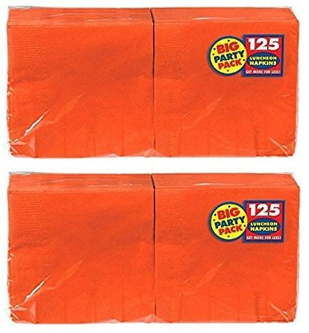 Amscan Big Party Pack 250 Count Luncheon Napkins, Orange by amscan