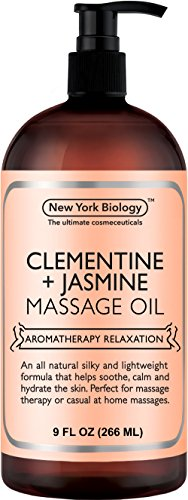 New York Biology Clementine and Jasmine Massage Oil - All Natural Ingredients - Sensual Body Oil Made with Essential Oils for Muscle Relaxation and Deep Tissue - 9 oz (Best Massage Oils For Romance)