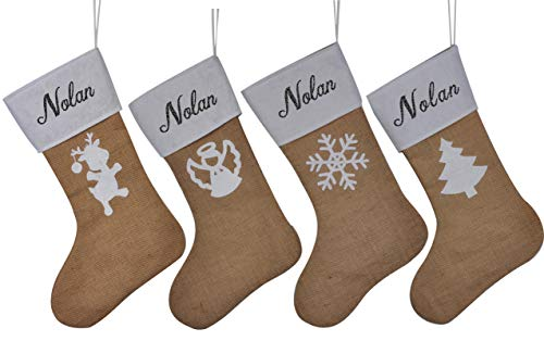 HUAN XUN Personalized Burlap Christmas Stockings Custom Name Noel Best Tree Fireplace for Home Familys (Noel Quilted Stockings)