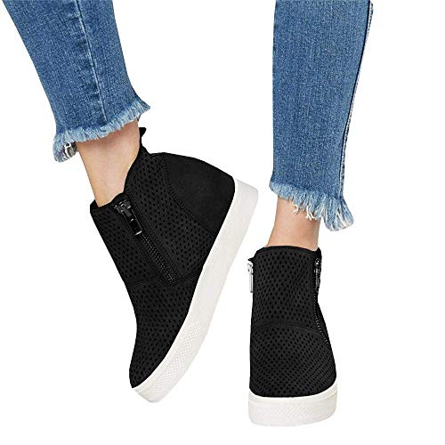 Kathemoi Womens Platform Wedge Sneakers Perforated Breathable High Top Side Zipper Ankle Booties Black