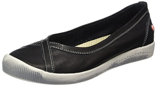 Softinos Damen Ilma Smooth Geschlossene Ballerinas Schwarz (Black)