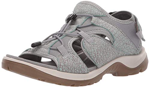 ECCO Women's Yucatan Toggle outdoor offroad hiking sandal, ice flower/cocoa brown toggle, 6-6.5 M US