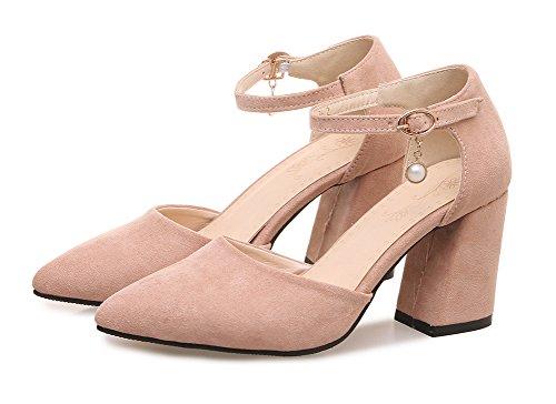Aisun Damen Spitze Zehen Geschlossen Blockabsatz Knöchelriemchen Sandale mit Perlen Rosa