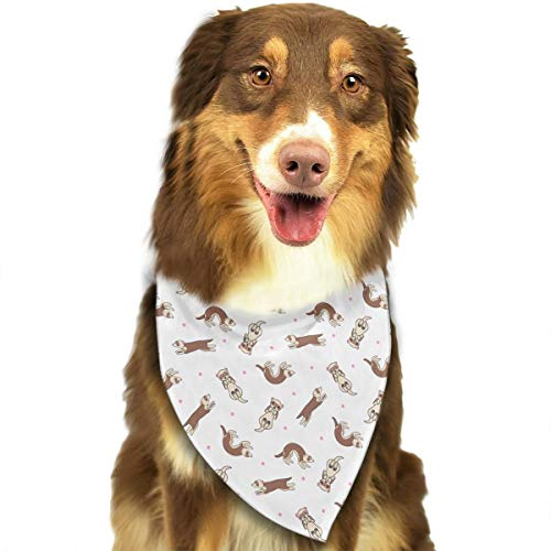 LOVE CORNER Dog Bandanas, Ferret Frolic Tiled Pattern of Ferret Wedding Dog Bandana Cute Neck Tie Scarf, Triangle Neck Scarf Hankie Great Gift for Small & Medium & Large Pet Dog Cat - Washable