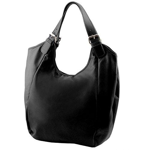 Borsa pelle Leather donna shopping Lipstick Rosso Gina Nero Tuscany in xpqw1CR