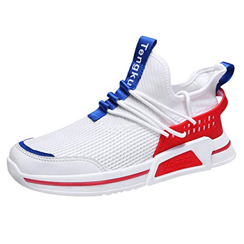 - iHPH7 Sneaker Low Casual Outdoor Shoes Fashion Sneakers Solid Summer Mesh Running Shoes Men (43,Red)