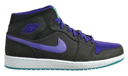 Air Jordan 1 Mid Retro Men's Basketball Shoes Black/Grape Ice-New Emerald 554724-015-11