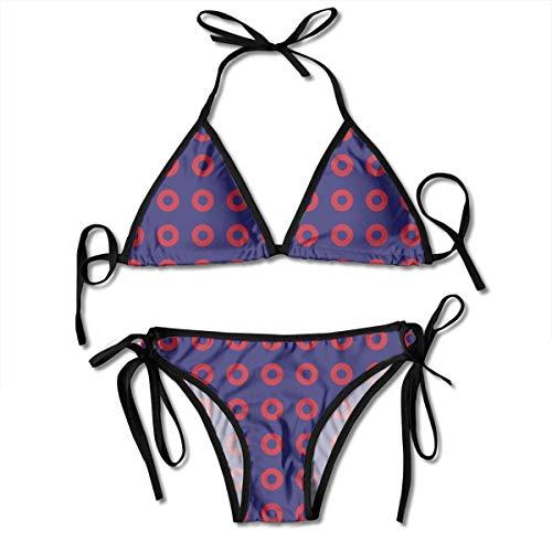 (Women's Triangle Bikini Phish Red Donut Circles On Blue Swimsuits Padded Adjustable Strap)